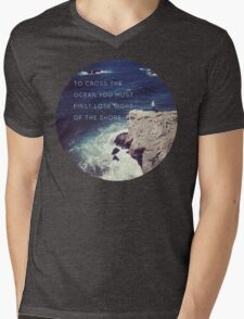 Lose Sight Of the Shore Type Typography Inspirational Beach Hipster Print Mens V-Neck T-Shirt