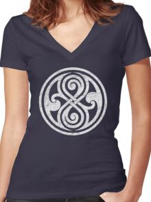 Seal of Rassilon - Classic Doctor Who - White on Black (Distressed) Women's Fitted V-Neck T-Shirt