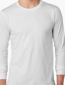 Seal of Rassilon - Classic Doctor Who - White on Black (Distressed) Long Sleeve T-Shirt
