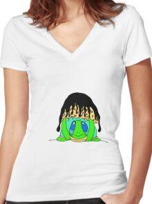 Homeless Women's Fitted V-Neck T-Shirt