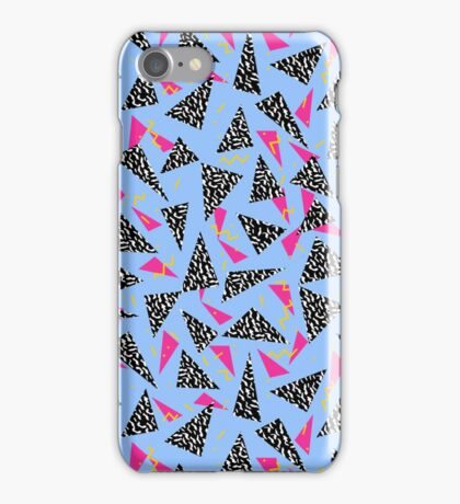 Throwback 80's style retro pattern design geometric triangles neon art abstract iPhone Case/Skin
