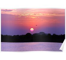 A colourful sunset over a lake. Poster