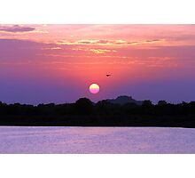 A colourful sunset over a lake. Photographic Print