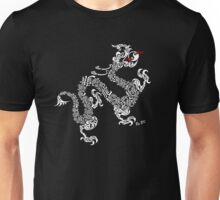 White Calligraphy Dragon Unisex T-Shirt