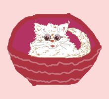 Kitty in Basket  White/ PINK T Shirt and STICKER/Baby CLOTHES by Shoshonan