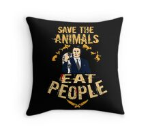 save the animals, EAT PEOPLE (6) Throw Pillow