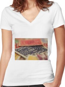 Macro Stamps Women's Fitted V-Neck T-Shirt