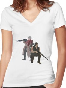 Carol Peletier and Daryl Dixon (Version 1) - The Walking Dead  Women's Fitted V-Neck T-Shirt