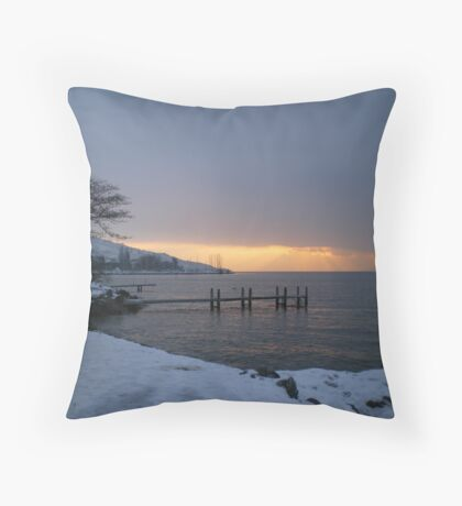 Winter Sunrise - Lake Geneva, Lausanne Throw Pillow