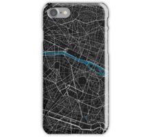 Paris city map black colour iPhone Case/Skin