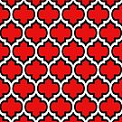 Black and White Quatrefoil Pattern on Red by Ra12