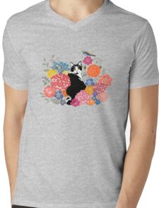 cat in a garden Mens V-Neck T-Shirt
