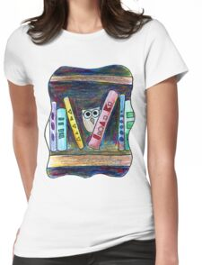 Bookworm Owl Womens Fitted T-Shirt