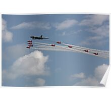 Avro Vulcan Bomber XH558 and the Red Arrows Poster