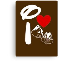 I Heart Chip 'n' Dale (Inverted) Canvas Print