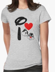 I Heart Chip 'n' Dale Womens Fitted T-Shirt