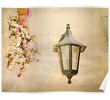 Black Lantern with Dried Flowers. Poster