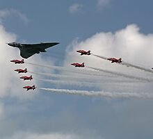 Avro Vulcan Bomber XH558 and the Red Arrows by Tony Steel