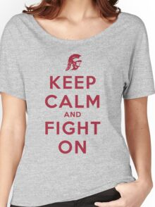 Keep Calm and Fight On (Gold iPhone Case) Women's Relaxed Fit T-Shirt