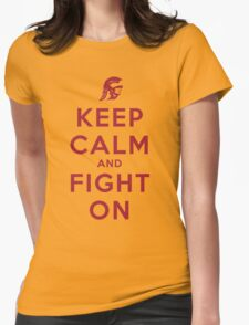 Keep Calm and Fight On (Gold iPhone Case) Womens Fitted T-Shirt