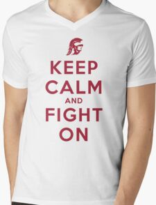 Keep Calm and Fight On (Cardinal Letters) Mens V-Neck T-Shirt