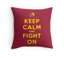 Keep Calm and Fight On (Gold Letters) Throw Pillow
