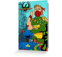 Video Game Characters Dragon Fight Greeting Card