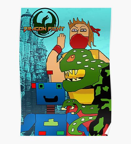Video Game Characters Dragon Fight Poster
