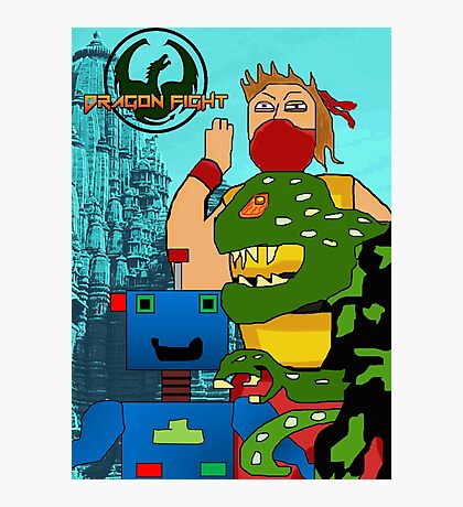 Video Game Characters Dragon Fight Photographic Print