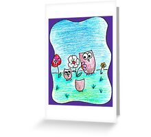 Owls with Flowers (flOLWers?) Greeting Card