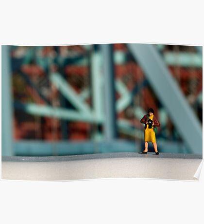 A little photographer on a bridge Poster