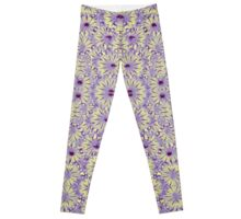 Digital Futuristic Flowers Pattern Leggings