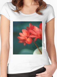 Red Flowers Macro Women's Fitted Scoop T-Shirt