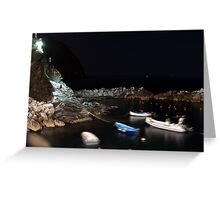 Riomaggiore harbour at night Greeting Card