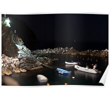 Riomaggiore harbour at night Poster