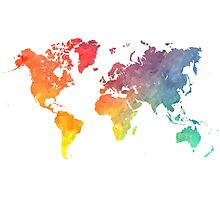 Map of the world colored Photographic Print