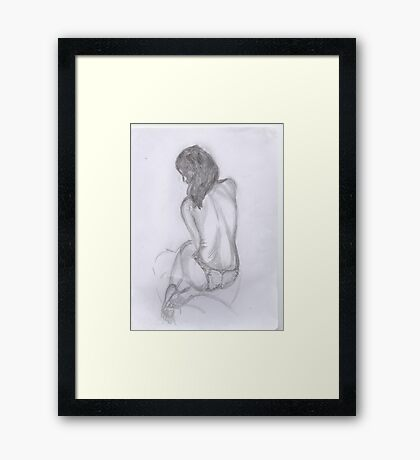 women in knickers line drawing Framed Print