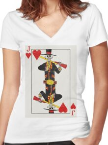 Jack of Hearts Women's Fitted V-Neck T-Shirt