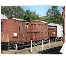 Side view of train carriages. Poster