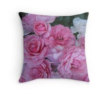 Pink Posy Roses Throw Pillow