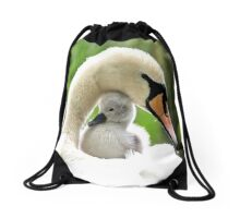 Mother and Baby Swan Drawstring Bag