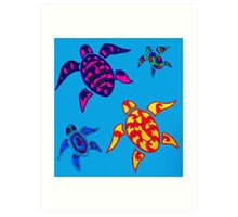 Colorful Sea Turtle Family Art Print