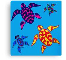 Colorful Sea Turtle Family Canvas Print
