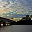 Brisbane skyline in blue & yellow by erinkazaam