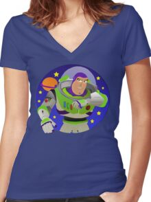 Toy Story Buzz Lightyear Space Ranger Women's Fitted V-Neck T-Shirt