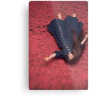 By the Flowers She was Swept Away Metal Print