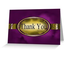 Purple & Gold Floral Button Thank You Card Greeting Card