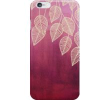 Magenta Garden - watercolor & ink leaves iPhone Case/Skin