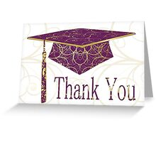 Purple & Gold Floral Cap Thank You Card Greeting Card