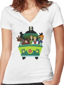 Scream-Scooby Doo Women's Fitted V-Neck T-Shirt